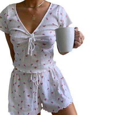 Damenmode 2-teiliges Set Sommer Neu Kurzarmhemd Straps Taille lose Shorts Anzug Frauen arbeiten reizvolle Nachtwäsche Hot Sale