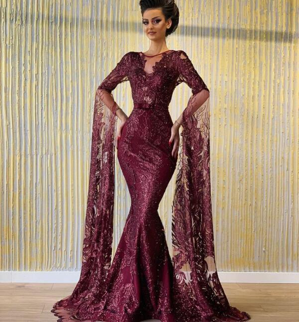 Evening dress Yousef aljasmi Kim kardashian O-Neck Mermaid Puffy sleeve Wine red Lace Long dress Zuhair murad Ziadnakad 00as