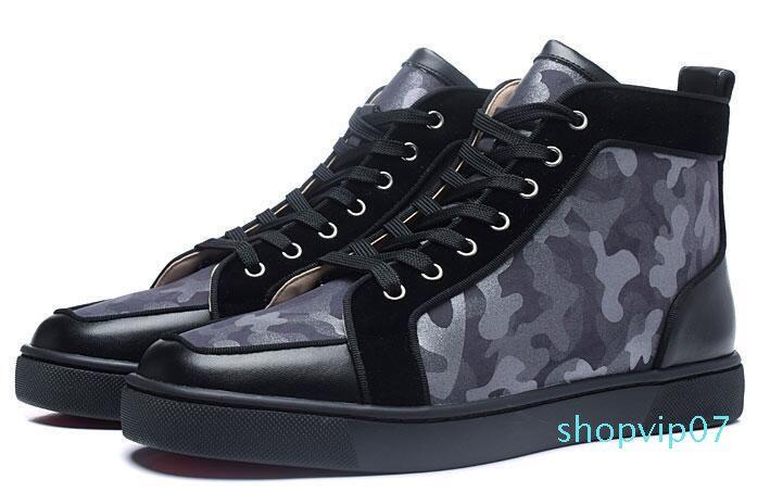 2019 Kırmızı Alt Casual Ayakkabı Sneakers Siyah Orlato Flats Yüksek Top Parti Sevenler Bayanlar Ace Gerçek Deri Womens Yeni ShoesL29 tasarımcılar