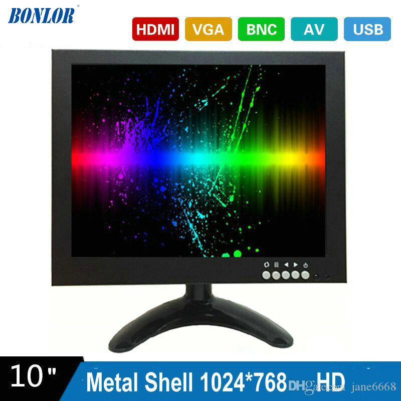 10 pulgadas 1024X768 HD CCTV Monitor con carcasa metálica HDMI VGA AV BNC Connector para PC Multimedia Donitor Display Microscope para envío gratis