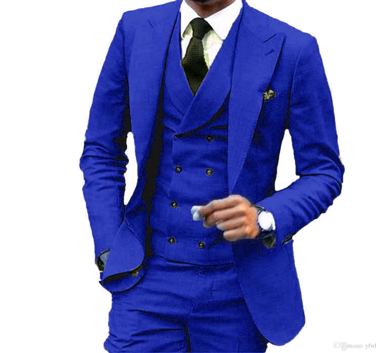 Fait sur mesure pour hommes mariage marié costumes hommes costumes de mariage tuxedo costumes de fumer hommes verser hommes (veste + pantalon + cravate + Gilet) B125