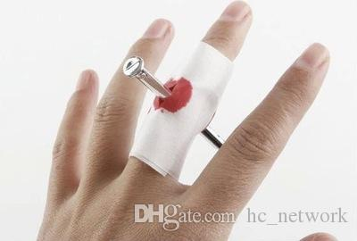 Nail Through Finger Gauze Blood Tricks April Fools for Halloween Fancy Party Tricky Fool Toy Scary Blood Finger Nail In Stock