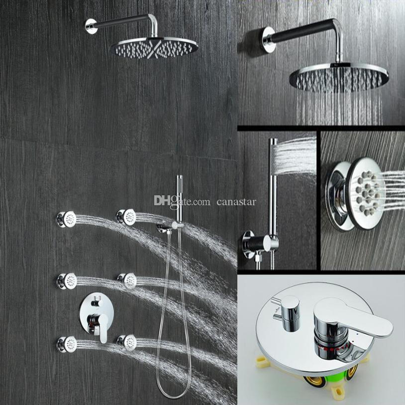 Bathroom Hot Cold Mixer Valve Shower Set 8/10/12 Inches Wall Mounted Solid Brass Shower Faucet Set With 6 Massage body Jets