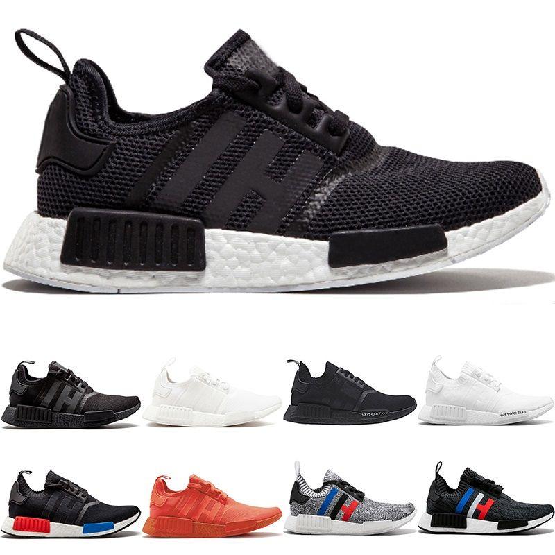 R1 Primeknit Running Shoes Men Women Triple Black White OG Classic Tri-Color Grey Oreo Japan Red Sports Sneakers Size 5-11 DropShipping