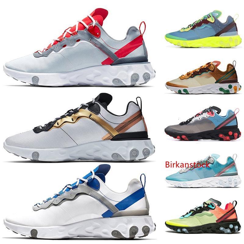 2019 Nuevo elemento Reaccionar 55 87 Mujeres que corren zapatos para hombre entrenadores UNDERCOVER Lakeside Volt Royal Tint Aire libre Reacciona zapatillas de deporte de los deportes