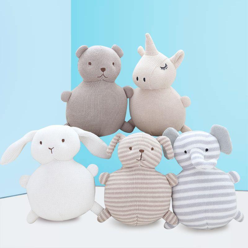 Leu ins Novo algodão criativo lã conforto boneca bebê dormir com coelho de boneca de linhas de algodão, urso, cão, elefante bonito, unicórnio