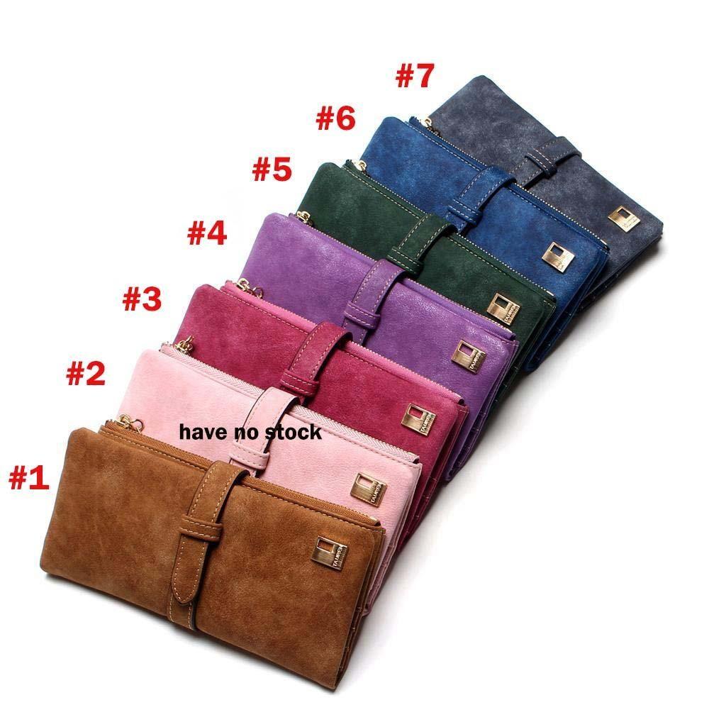 Женский кошелек на шнуровке Нубук Кожаный кошелек на молнии Женский длинный дизайн Кошелек в два раза больше цвета сцепления