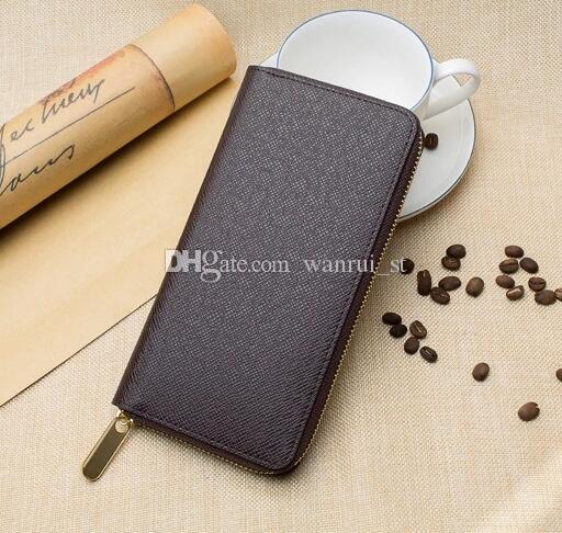 Nuevo Zippy Wallet ronda cremallera Monedero negro Hombres Cuero real Carteras marrones diseñador de la marca D E cartera de embrague Monedero con caja bolsa de polvo 60017 -1 3 COLOR