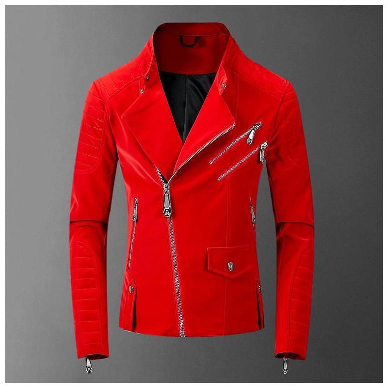 2020 Kafatası Gümrük Deri Kırmızı Ceket Erkekler High Street Stil Boyun Streetwear Erkek Ceketler ve Coats teslimi aşağı