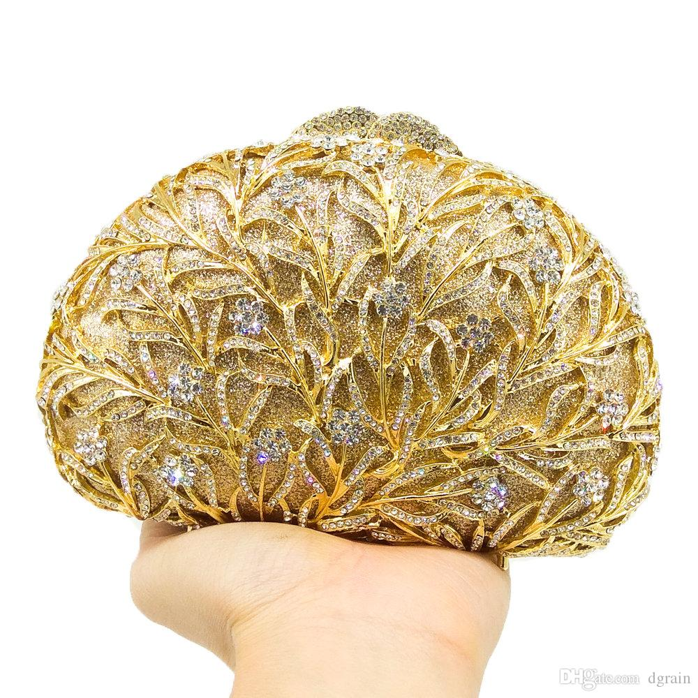 Dgrain Elegante Ouro Howllout Out Mulheres de Cristal Saco de Noite de Embreagem De Metal Feito À Mão de Cristal Bolsa de Casamento Bolsa Festa À Noite Embreagens Do Partido