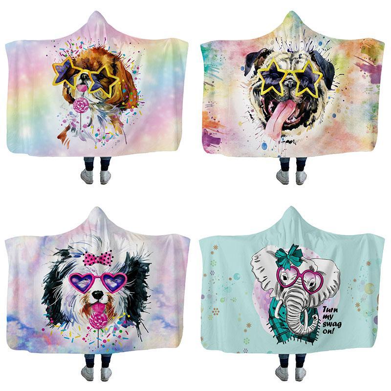 Pintura Animales Manta con capucha cálida Suave Cómodo Sofá casero Sofá cama Manta Viaje al aire libre Cálido con capucha