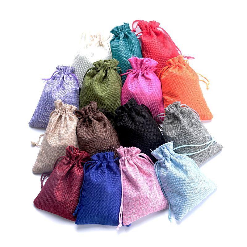 Hotsale 5pcs 7x9 10x14 13x18cm pequeno Juta Sacos de jóias pulseira de embalagem sacos de linho com cordão saco do presente bolsas podem personalizado