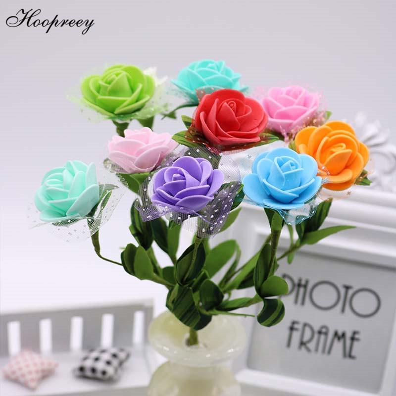 3.5cm 200pcs Yapay Çiçekler Düğün Simülasyon Köpük PE İplik Gül Çiçek Başkanı El yapımı Garland Şeker Kutusu aksesuarları 10E