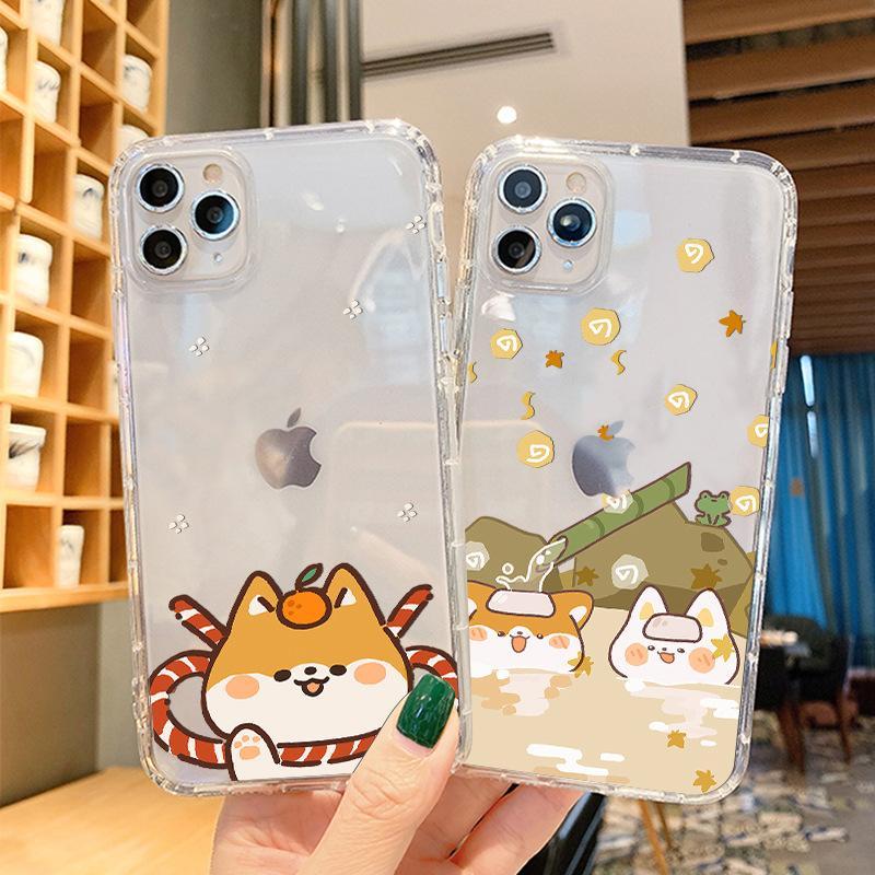 Lüks Tasarımcı Telefon Kılıfları iphone 11 Pro Max Köpek Desen iPhone 11 6 7 8 Artı Sevimli Japon Hava Basıncı Shell TPU Yumuşak Cep Telefonu Kılıf