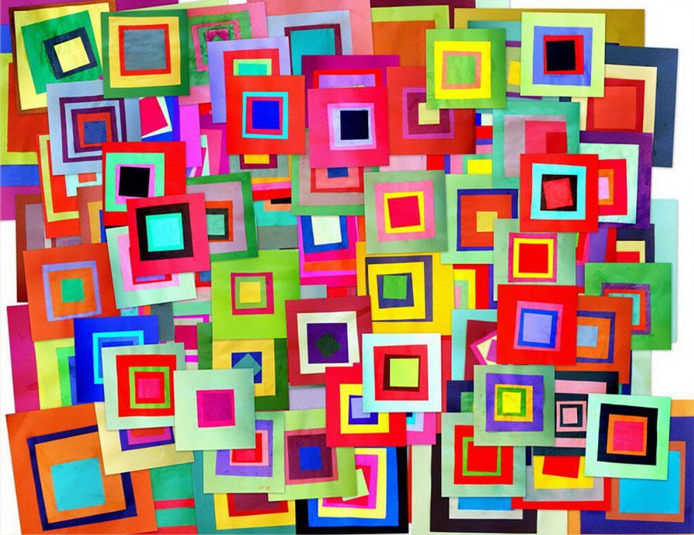 Carrés Josef Albers Home Décor peint à la main d'huile d'impression HD Peinture Sur Toile Art mur toile Photos 200208