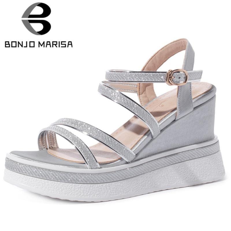 BONJOMARISA llegada de gran tamaño del partido de la moda de Nueva Plataforma Fecha Rhinestone mujeres de las sandalias de alta acuña los zapatos Mujer del verano