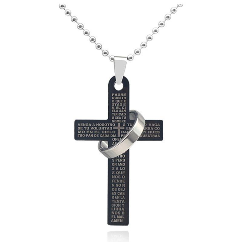 Acero inoxidable Casual cadena del encintado anillo de la cruz del collar de los hombres Joyería fresca colgante