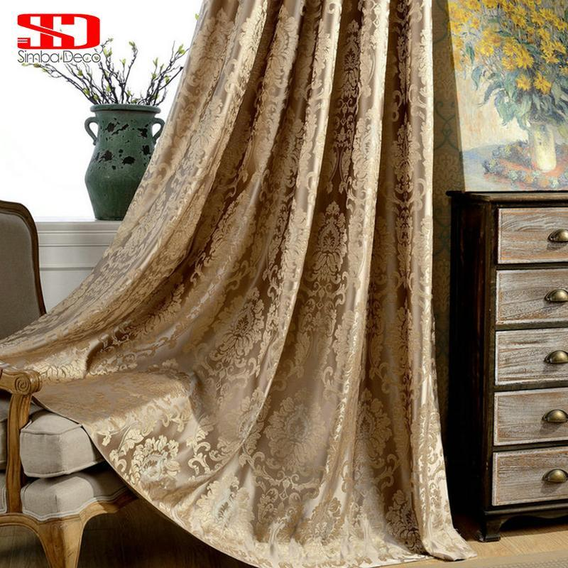 Europäische Damast Vorhänge für Wohnzimmer Luxus Jacquard Blinde Vorhänge Fensterverkleidung Stoff Vorhang für Schlafzimmer Schattierung 70% gestaltbare