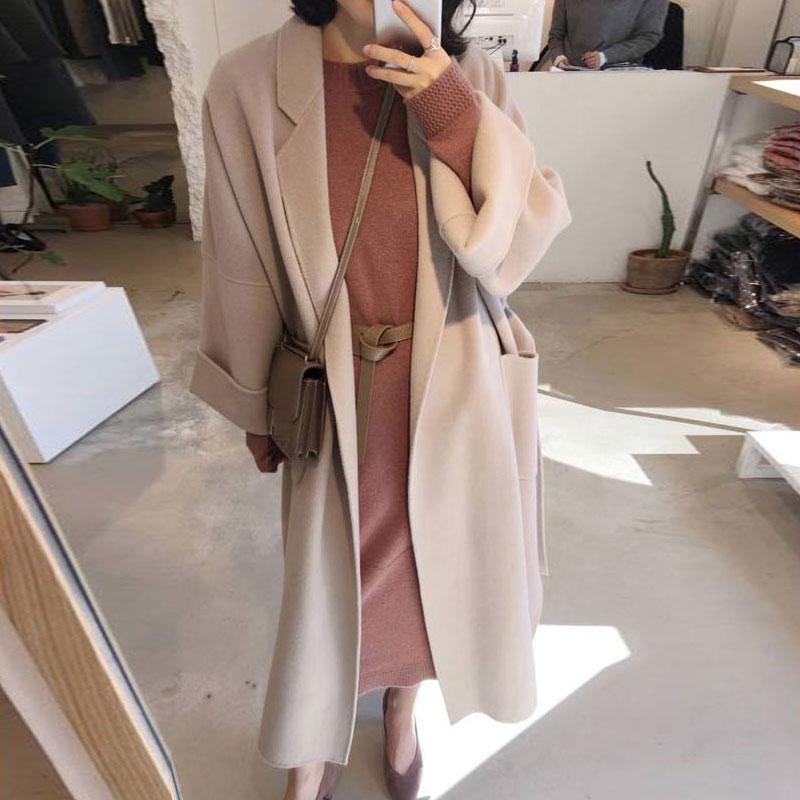 Новый 2019 женщин шерстяное пальто сгущает с длинным рукавом средней длины воротник отложной Open Front Parka Пояс пальто