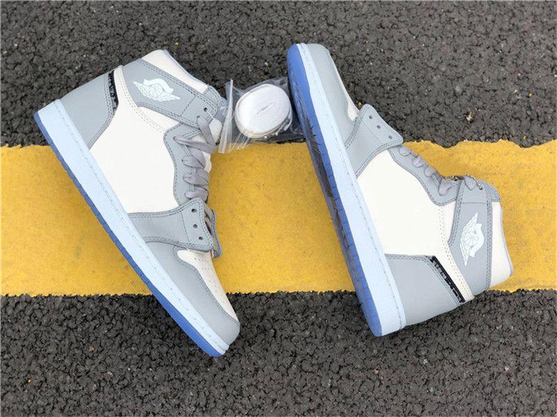 2020 Authentic 1 High OG Low Basketball-Schuh-Mann Wolf Grau Segel Photon Staub der weißen Männer Turnschuhe Turnschuhe Sport mit ursprünglichem Kasten