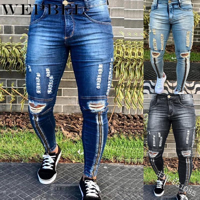WEPBEL Casual Buracos Moda retalhos Zip Mid cintura Denim De Corpo Inteiro Pencil Pants Men Slim Jeans