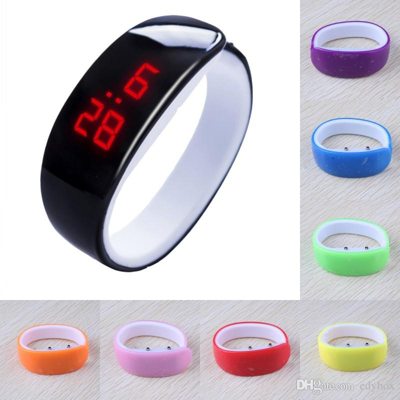 Free DHL 10 Colors Dolphin Bracelet Watch Band Digital Watch Red LED Watches Women WristWatch Sport Clock Hours Girls Gifts