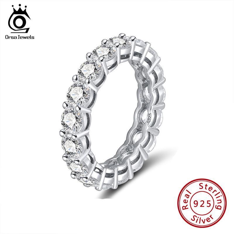 ORSA jóias verdadeira jóia SR167 925 Full Circle Sapphire Rings Sterling Acessórios Prata Prata Rose Cor brilhante anel de Belas