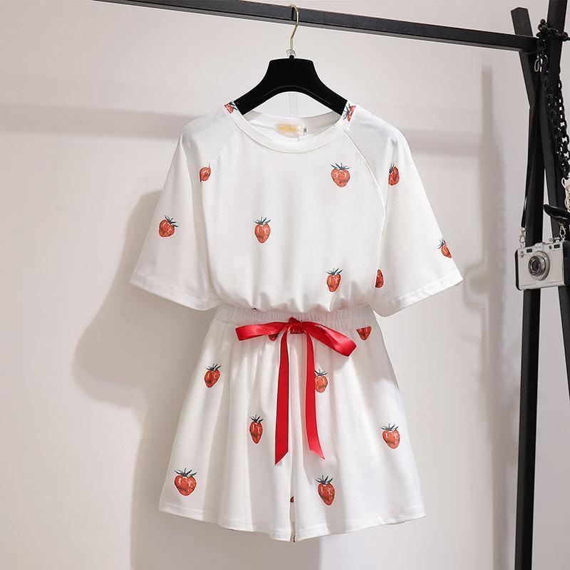Vestido de maternidad gordo mm2019 de verano de gran tamaño para mujer, pijama de fresa, versión coreana del traje de servicio a domicilio de pantalones cortos sueltos