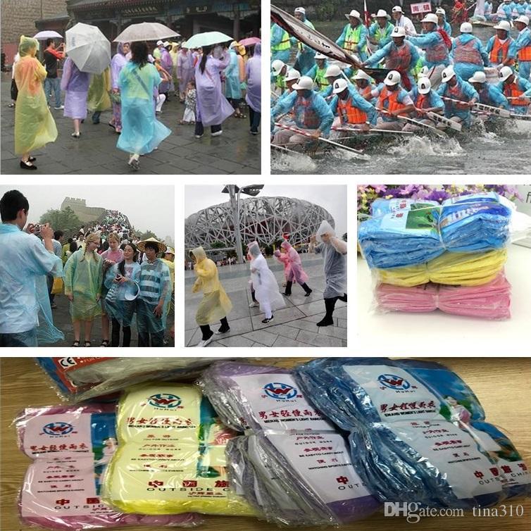 Più nuovo Mostra impermeabile Moda Monouso PVC impermeabile Poncho Poncho Rainwear Viaggi Coat Rain Coat Pioggia Abbigliamento da viaggio Cappotto pioggia I294