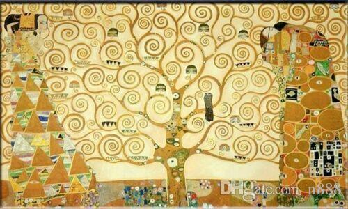 Tree of life Gustav Klimt Oil Painting On Canvas Classic Abstract Wall Art Home Decor Handpainted &HD Print 191016