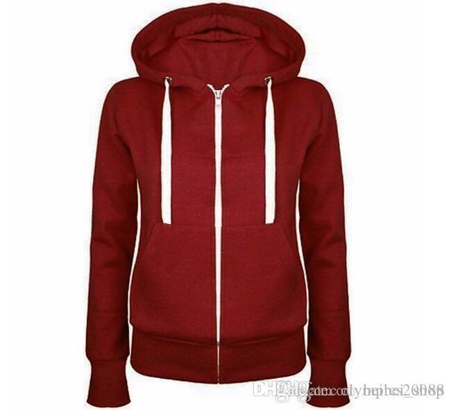 Mode Femmes Zip Solide Up Sweat Hoodies capuche manches longues automne manteau d'hiver Tops 9333