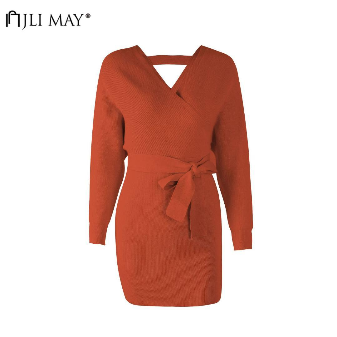 JLI MAY Pullovers Batwing Sleeve Long Sweaters V-Neck Long Sleeve Casual Sexy Womens Sweaters Knitted Solid christmas
