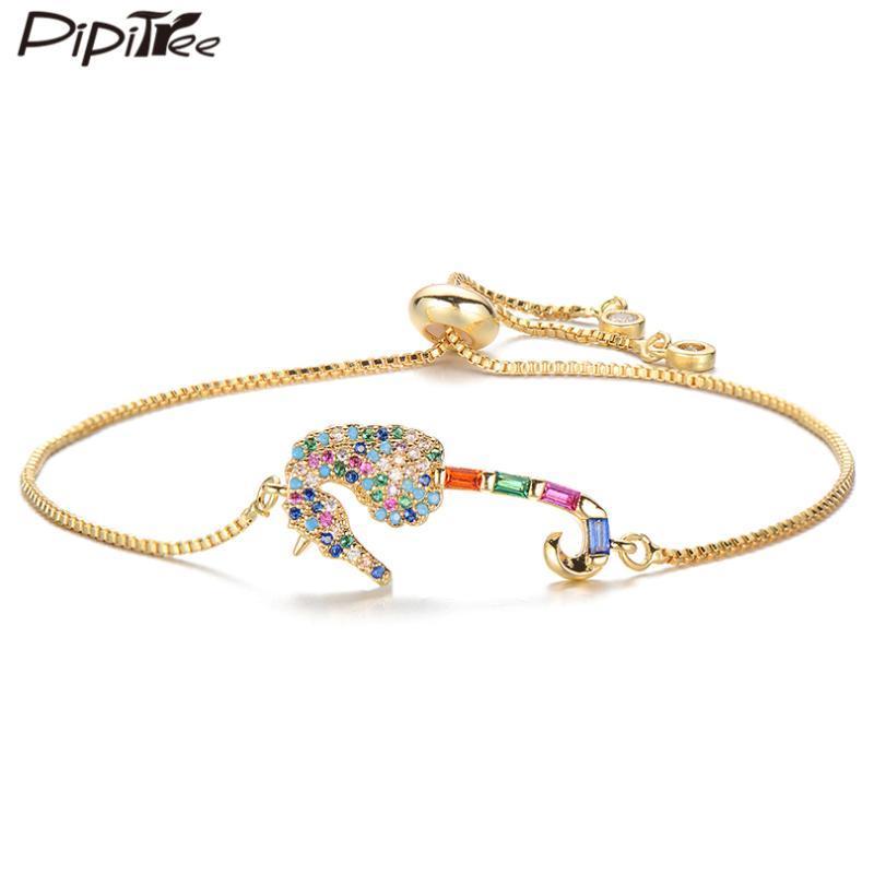 Pipitree Принцесса вырезать кубический цирконий гиппокамп браслет Медный слайдер цепи Морской конек Шарм браслеты для женщин ювелирные изделия