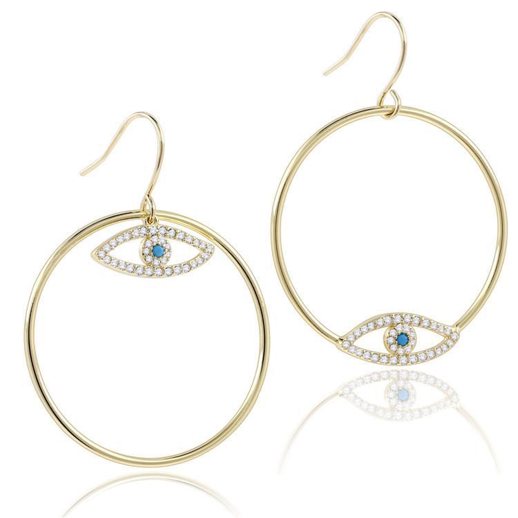 Jewelry Asymmetric Devil's Eyes Earring Round Zircon Earrings Plated 14k Gold Earrings Eye of the Demon Romance Lucky Earrings for Women