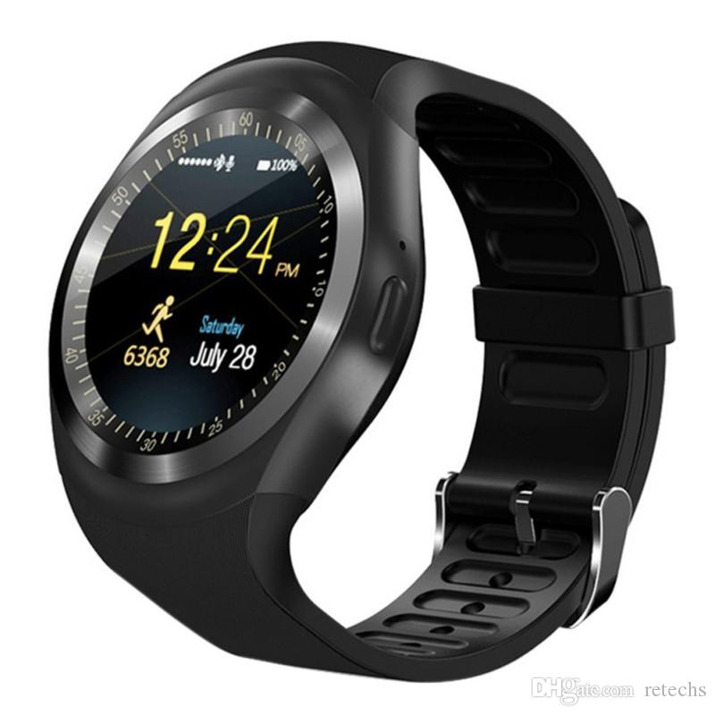 Y1 smart watch wristband style high resolution Relogio Android phone Sim GSM remote camera / camera information display sport pedometer
