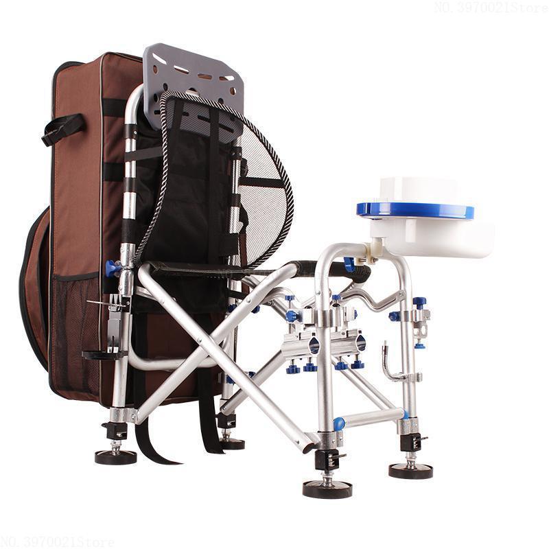 Estable estupenda Pesca aleación de aluminio Silla plegable de Camp / sillas de pesca con mochila ajustables piernas del respaldo barra de cebado Holder