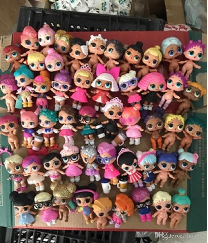 Envió al azar para la serie LOL muñeca de 10 cm juguetes juguete del bebé muñecas figura de acción juguetes del regalo de los niños con un paño, botella, accessiess pelo en la acción