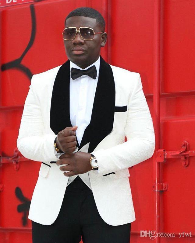 Fildişi Jakarlı smokin damat düğün erkekler suit erkek düğün takım elbise smokin kostümleri de sigara hommes dökün erkekler (Ceket + Pantolon + Kravat + Yelek) 070
