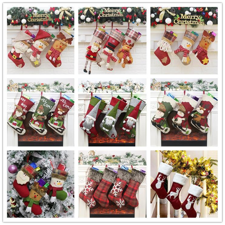 Newest Christmas Stocking Gift Bag Kids Candy Bags 45 Designs Home Christmas Tree Decoration Hanging Ornament Socks Xmas Supplies