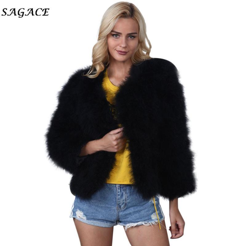 Clothes Coats Women Fashion Warm Solid Soft Lady Winter Lady Casual Faux Fur Ostrich Feather Soft Fur Coat Jacket Fluffy Xmax