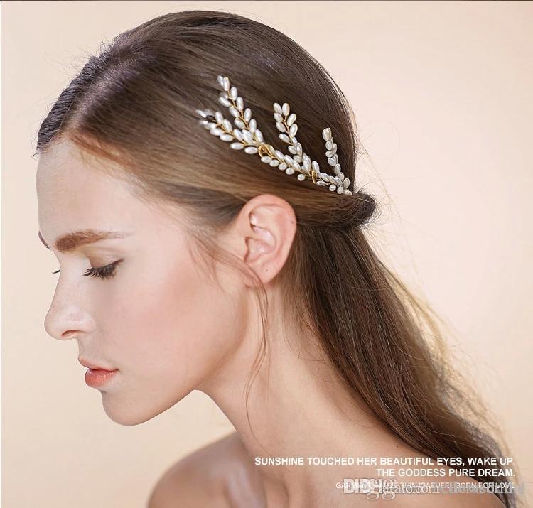 Nuovi copricapo da sposa Accessori per capelli con perle Nuziale Forcine da donna Gioielli per capelli Gioielli da sposa eleganti # HP501