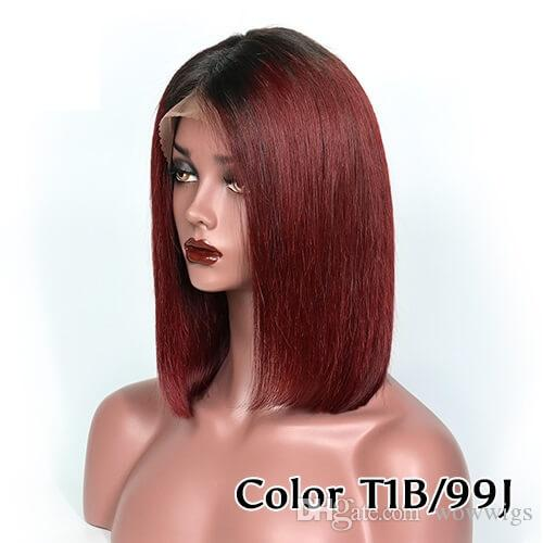 Кружева передние парики короткие Боб 1B 99J цвет предварительно сорвал естественный волосяной покров Индийский перуанский бразильский волос отбеливатель узлов 150% плотность