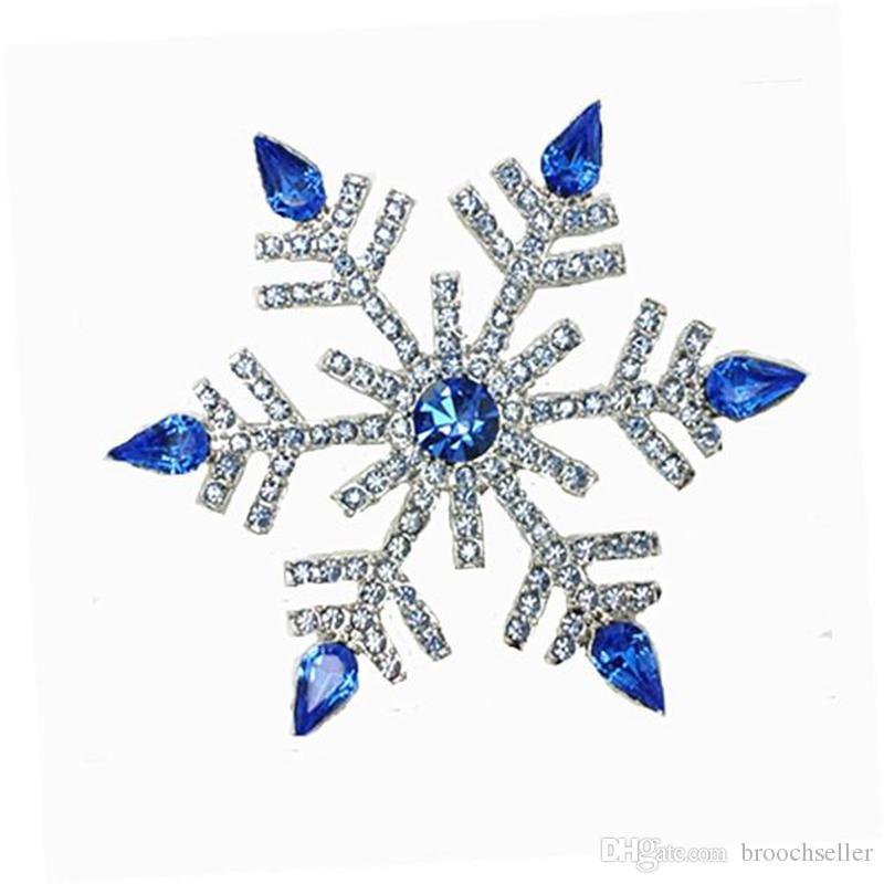 "2.68 ""Vintage Silver Royal Rhinestone Crystal Diamante Duży śnieżynka Boże Narodzenie Broszka"