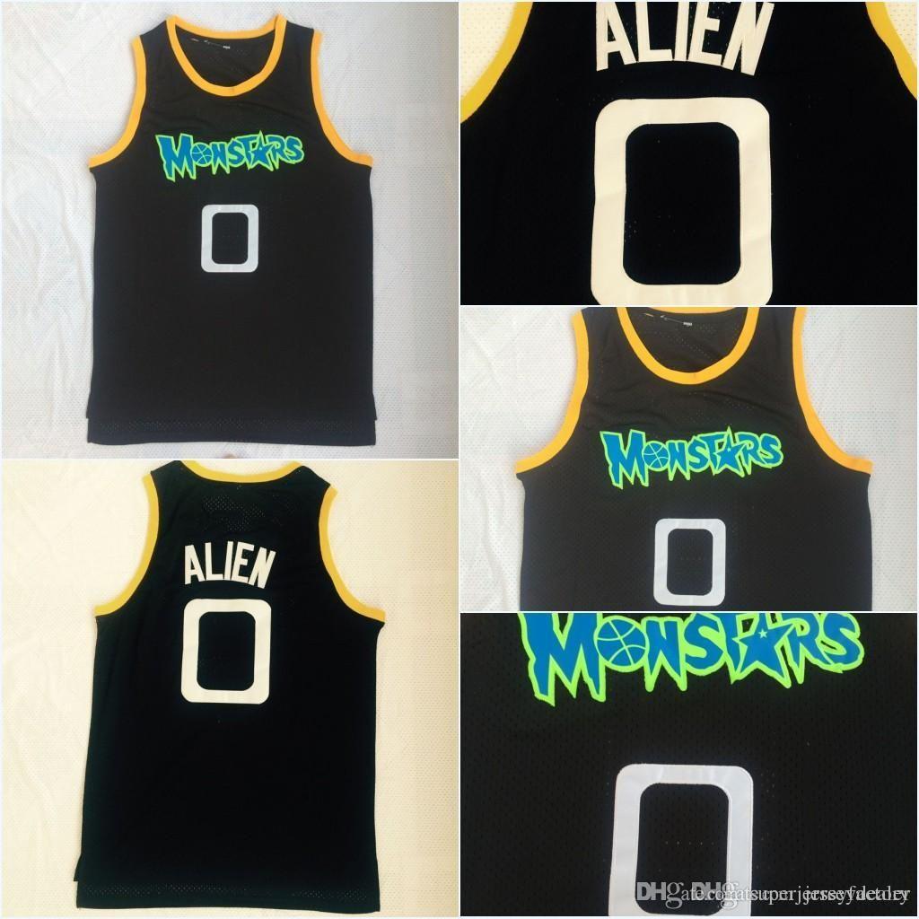Günstige Aliens Monstars 0 Alie Movie Basketball Jersey 100% genähte Space Jam Tune Squad Team Retro Blue S-3XL Schneller Versand