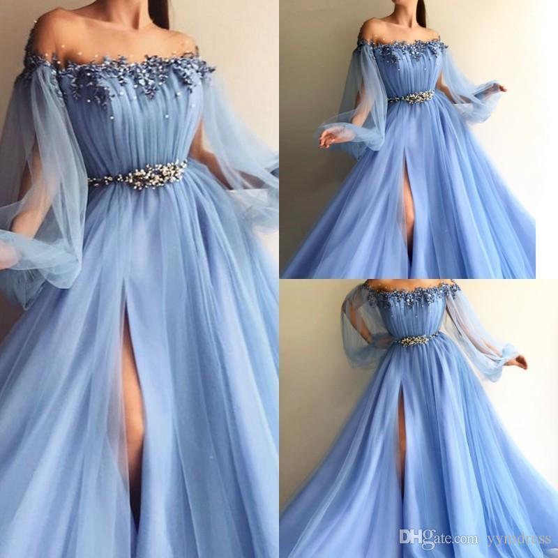 De l'épaule robes de soirée 2019 manches bouffantes satin tulle perlé appliques fendu sur le côté longueur de plancher Bleu ciel lavande Robes de bal