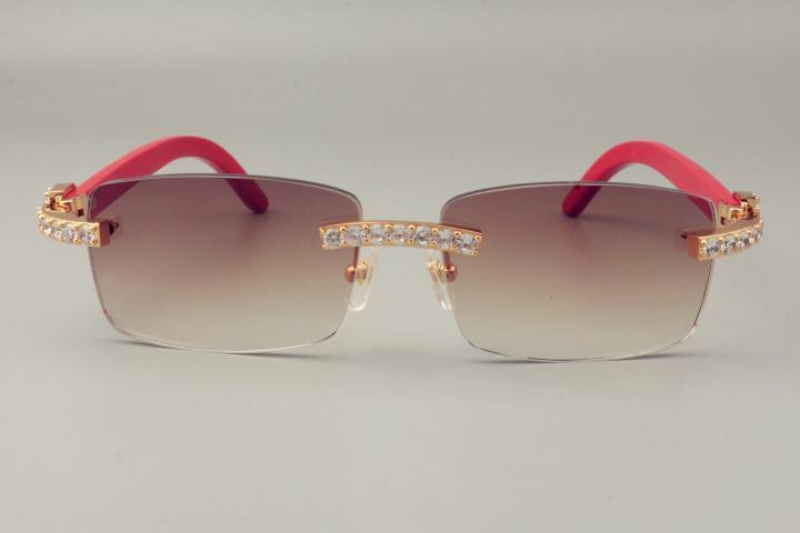 2019 شحن مجاني النظارات الشمسية الماسية الفاخرة لا نهاية لها 3524012 نظارات الذراع الخشبية الطبيعية الحمراء ، Unisex ، العدسة 3.0 سمك