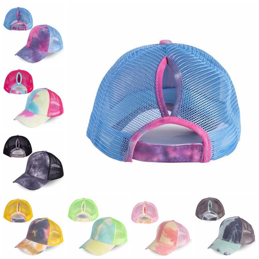 Конский хвост бейсболка 7 цветов унисекс грязный пучок шляпы галстук краситель Snapbacks повседневная солнцезащитный козырек открытый шляпа галстук краситель мяч шапки CCA12272 50 шт.