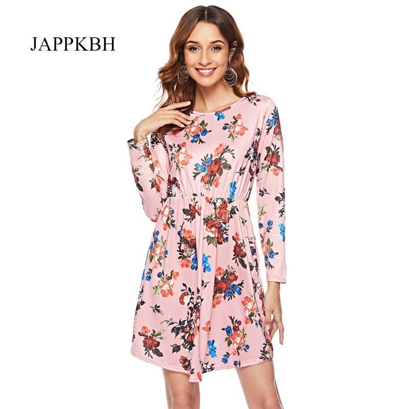 JAPPKBH Otoño Verano Vestido de Las Mujeres de Impresión Casual Floral de Manga Larga Vestidos de las señoras Elegante de La Vendimia Boho Partido Mujeres Vestido Vestidos