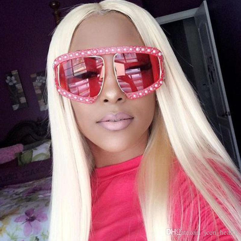 대형 진주 프레임 고글 선글라스 여성 선글라스 명품 안경 디자이너 패션 복고풍 보석 UV400 태양 유리