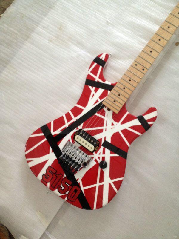 Verbesserte Kramer-Gang Edward Van Halen 5150 Weiße Streifen Rote E-Gitarre Floyd Rose Tremolo-Brücke, Sicherungsmutter, Griffbrett aus Ahornhals